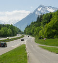Throughway highway and road signs on a sunny day switzerland Royalty Free Stock Photo