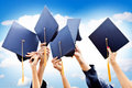 Throwing graduation hats Royalty Free Stock Image