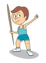 Throwing a javelin vector illustration of boy who is Royalty Free Stock Photography