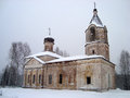 The thrown church under a layer of fluffy snow Stock Images