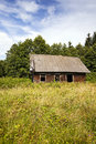 The thrown house old wooden located in rural areas Stock Images