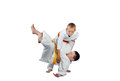 Throws judo a doing sportsmens in judogi Stock Image