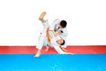 Throws judo perfoming athletes in judogi Royalty Free Stock Photo