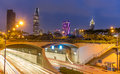 Thu Thiem Tunnel and financial buildings by night Royalty Free Stock Photo