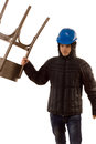 Thug making a threatening gesture with a chair young male in balaclava and hardhat standing raising his arm isolated on white Stock Image