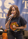 """Thulisile thusi actress sings the circle of life from the lion king at """"stars in the alley """" a free outdoor concert produced Stock Photos"""
