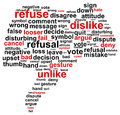 Thumb down refuse word cloud concept Stock Photography