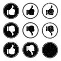 Thumb up and down stamp icons vector illustration of Stock Photography