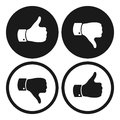 Thumb up and down symbols. Human hand icon. Sign of Like