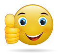 Thumb up emoticon yellow cartoon sign facial expression illustration Stock Photos