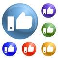 Thumb up icons set vector