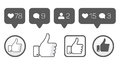 Thumb up, like icons, follower comment  vector set Royalty Free Stock Photo