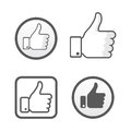 Thumb up, like icons vector set, social network Royalty Free Stock Photo