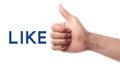 Thumb up like isolated on white background Royalty Free Stock Images