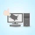 Thumb up pc computer concept abstract design Stock Images