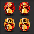 Thumb up set of red and gold icons for web design vector illustration Stock Images
