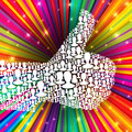 Thumb up symbol on colorful rays Stock Photo