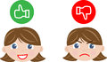 Thumb up thumb down faces happy face angry face girl Royalty Free Stock Photography