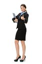 Thumbing up businesswoman with folder full length portrait of isolated on white concept of leadership and success Royalty Free Stock Photography