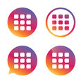 Thumbnails grid icon gallery view symbol sign option gradient buttons with flat speech bubble sign vector Royalty Free Stock Photos