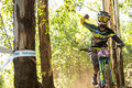 Thumbs down bad run pietermaritzburg south africa april casey brown bergamont hayes world team during final runs of round uci mtb Stock Image
