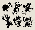 Thumbs up animal silhouettes set Stock Image