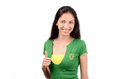 Thumbs up for brazil attractive girl with brazilian flag on her green t shirt isolated on white Royalty Free Stock Images