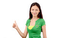 Thumbs up for brazil attractive girl with brazilian flag on her green t shirt isolated on white Stock Photography
