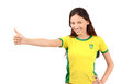 Thumbs up for brazil attractive girl with brazilian flag on her yellow t shirt isolated on white Stock Photo