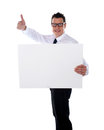 Thumbs up businessman holding banner ad Royalty Free Stock Photo