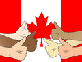 Thumbs up canada bunch of human hands showing the thumb on top of canadian flag Royalty Free Stock Images