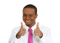 Thumbs up closeup portrait handsome young smiling man in pink tie giving two at camera sign isolated white background positive Stock Photography
