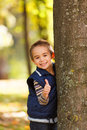 Thumbs up from cute boy little showing a like sign Royalty Free Stock Photo