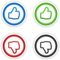 Thumbs up and down buttons vector illustration of separate layers for easy editing Stock Photos