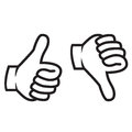 Thumbs up down gesture clip art silhouette black image illustration Royalty Free Stock Images