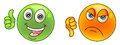Thumbs up and down smiley face like unlike vector illustration Stock Photos