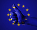 Thumbs up for the european union hand with Stock Photo
