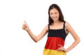 Thumbs up for germany attractive girl with flag blouse isolated on white Stock Photography