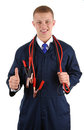 Thumbs up guy with cables Royalty Free Stock Images