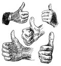 Thumbs up hand drawn illustration of a hand giving a isolated on white background Royalty Free Stock Photo