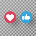 Thumbs up and heart icon on transparent background. Social media elements. Social network symbol. Counter notification icons. Emoj