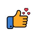 Thumbs up and hearts sign colorful flat vector icon. Simple button with user feedback for social network, mobile app or