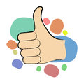 Thumbs up illustration of hand in fun colors Royalty Free Stock Photos