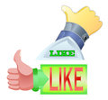 Thumbs up with like text Royalty Free Stock Image