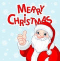 Thumbs up santa claus greeting card christmas doing a and smiling Stock Images