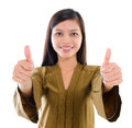 Thumbs up Southeast Asian Muslim female Royalty Free Stock Image