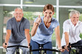 Thumbs up in spinning class in gym Royalty Free Stock Photo