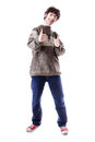 Thumbs up student an handsome guy maybe a in casual clothing with isolated over white Royalty Free Stock Image