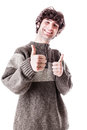Thumbs up student an handsome guy maybe a in casual clothing with isolated over white Royalty Free Stock Photography