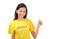 Thumbs up for sweden attractive girl with flag on her yellow t shirt isolated on white Stock Images